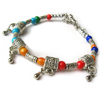 Beautiful Tibetan Silver Colorful 4 Prayer Wheel Beaded Amulet Bracelet