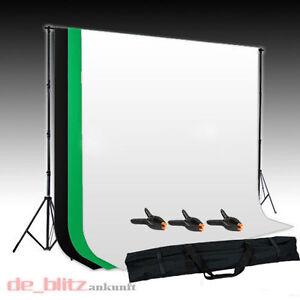 3 Hintergrund Stoff 3 x 1,6M Fotostudio SET Hintergrundsystem + Stativ