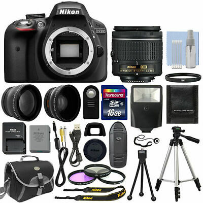 Black + 3 Lens: 18-55mm Lens + 16GB Bundle Nikon D3300 Digital SLR Camera