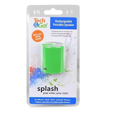 Tech & Go Splash Mini Rechargeable Portable Speaker w/3.5mm