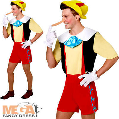 Pinocchio Mens Fancy Dress Disney Fairytale Book Day Week Adults Costume Outfit