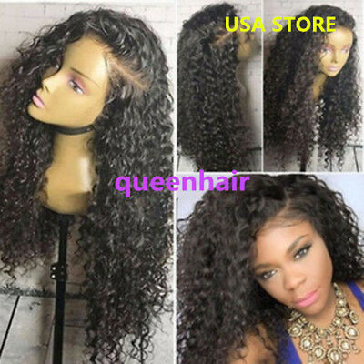 Hot Brazilian Virgin Human Hair Full  Wig curly Lace Front Wig Bleached Knots