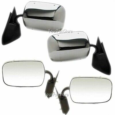 Pickup Chrome Manual Mirror - 88-98 CHEVY GMC PICKUP PU Truck CHROME Manual DOOR MIRROR LEFT & RIGHT Set PAIR