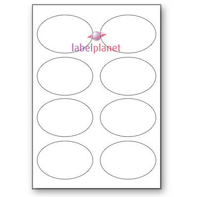 8 Per Page White Matt Self-Adhesive Stickers A4 Oval Labels