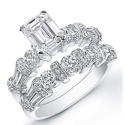 3.18 Ct. Emerald Cut Diamond Engagement Bridal Set GIA