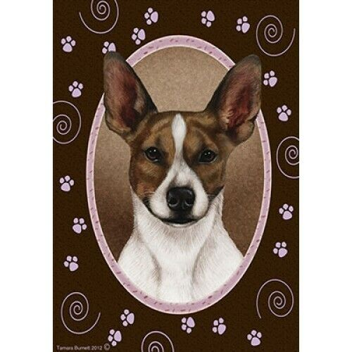 Paws House Flag - Brown and White Rat Terrier 17130
