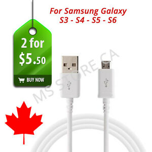 2 X 3FT (1M) USB Cable Charger for Samsung Galaxy S3 S4 S5 S6