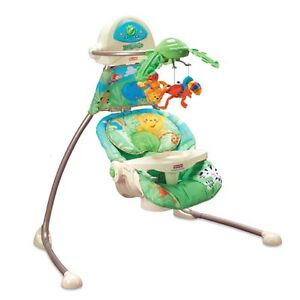 $75 obo- Rainforest Unisex Swing,Positions,Speeds,Sounds,Plug in