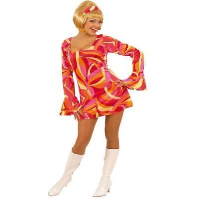 HIPPIE KLEID ROT 70er Jahre Stil Gr. L 42 44  Damen Kostüm Fasching Karneval (70er Jahre Stil Kostüme)