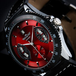 Swiss Design New Mens Automatic Mechanical Black Man Leather Wrist Watch GIFT