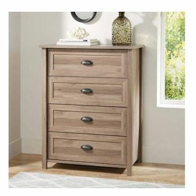 4 Drawer Log Chest (Rustic Washed Oak Log Lodge Wood Finish 4 Drawer Dresser Storage Chest)