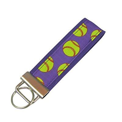 Softball Key Fob / Fabric Key Chain - Softball Keychains