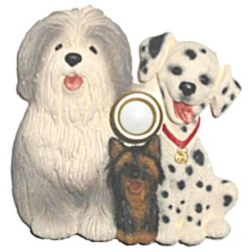 Doorbell Button Dalmatian Yorkie Griffon Dogs Hand Painted Door Bell Lighted New