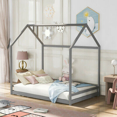 Twin/Full Size House Bed Wood Bed Frames Platform Bed Floor Bed White/Gray/Brown