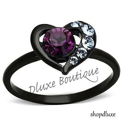 Women's Round Cut Amethyst CZ Black Stainless Steel Heart Fashion Ring Size 5-11