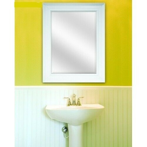 White Framed Wall Mirror Modern Bathroom Vanity Rectangle Be