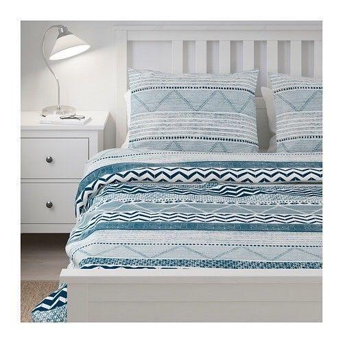 Ikea Provinsros Duvet Cover Set Navy Blue White