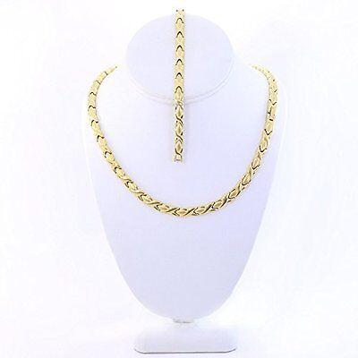14K Gold Tone Hugs & Kisses Necklace Bracelet Stainless Steel 20