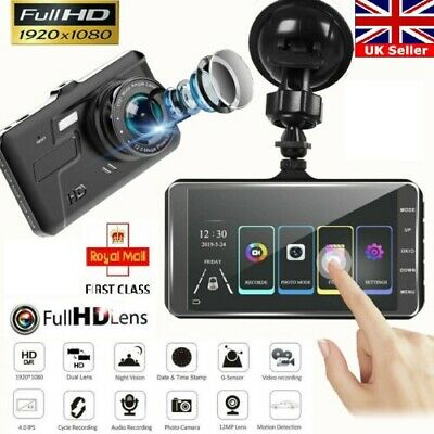 "4"" Touch Car Camera Recorder Dual Front and Rear HD 1080p Dash Cam Night Vision"