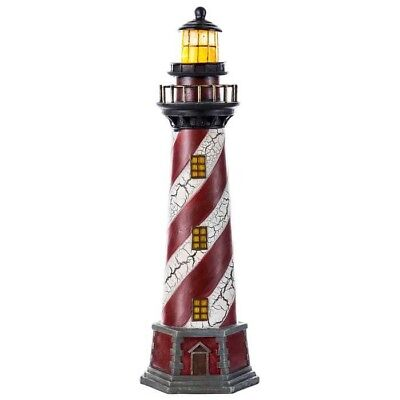 """Red & White Resin Lighthouse With Light Coastal Ships Beach 16""""H Nautical Decor"""