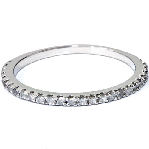 1/5 ct Diamond Wedding Ring White Gold Stackable Band