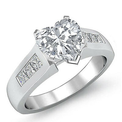 Cathedral Prong Channel Set Heart Diamond Engagement Ring GIA H Color VS2 1.6Ct
