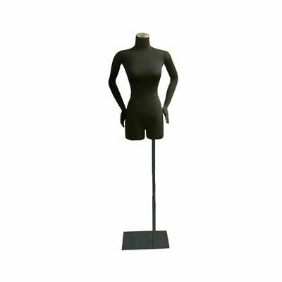 Adult Female Black Pinnable 34 Dress Form Mannequin Torso With Flexible Arms