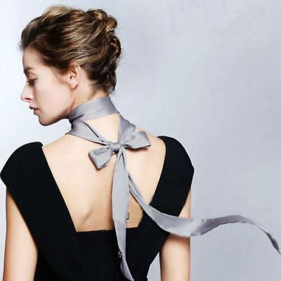 Sexy Women' Skinny Chiffon Scarf Extra Long Slim Solid Ribbon Belt Thin Tie (Belted Chiffon Belt)
