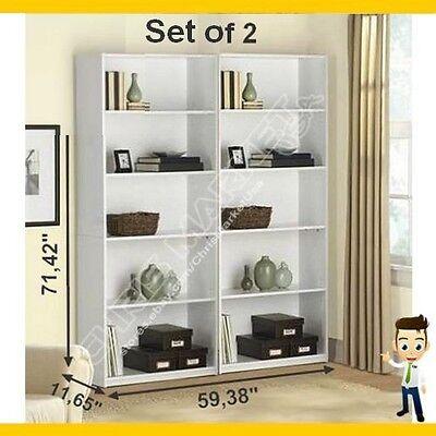5-Shelf Bookcase Set of 2 Furniture Bookshelf Adjustable Wood Storage Home White