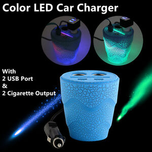 Cup Car Charger 2 USB Charging Ports with 2 Sockets Cigarette Li