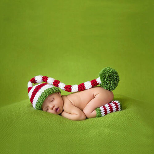 Newborn Infant Baby Girls Boys Crochet Knitted Xmas Photo Photography Props Hats