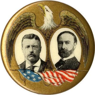 Patriotic 1904 Roosevelt Fairbanks Jugate Campaign Button