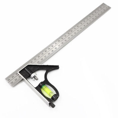 """Adjustable 300mm (12"""") Engineers Combination Try Square Set Right Angle Guide"""