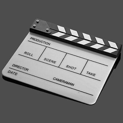 Professional Black White Acrylic Clapper Board Slate w/ Stick TV Film Home Movie