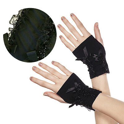 Soft Stretchy Black Gothic Fingerless Wrist Gloves Sparkly Lace Trim Goth Punk
