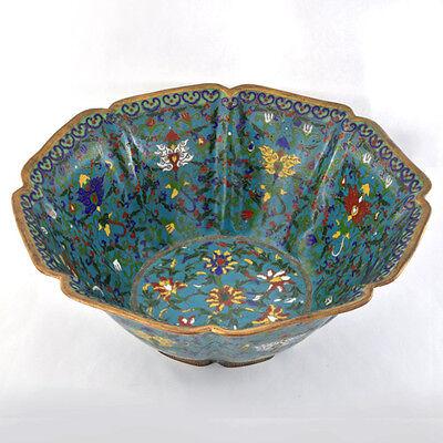 "Antique Chinese Late Qing.1880-1900 Cloisonne Enamel Floral Motif Bowl 10.5"" W."