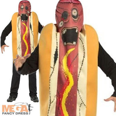 Zombie Hot Dog Adults Halloween Fancy Dress Food Mens Ladies Costume Outfit - Hot Zombie Costumes