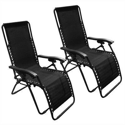Zero Gravity Chairs Case Of (2) Black Lounge Patio Chairs Outdoor Yard Beach New