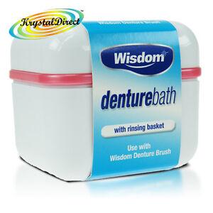 Wisdom Denture BATH Case Container Box & Rinsing Basket