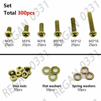 300pcs M3 Brass Phillips Pan Head Screws Bolt Hex Nuts Washers Assortment