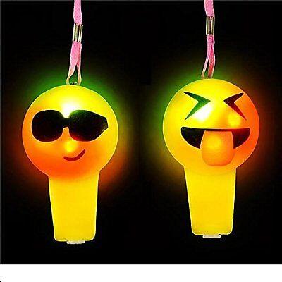 2 LED LIGHT UP FLASHING EMOJI WHISTLES EMOTICON GOODY BAG PARTY FAVORS CARNIVAL