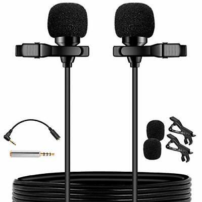 PoP voice Premium 16 Feet Dual-Head Lavalier Microphone Professional Lapel Cl...