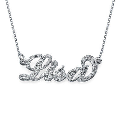 Sparkling Diamond-Cut Sterling Silver Personalized Name Necklace- Custom Made