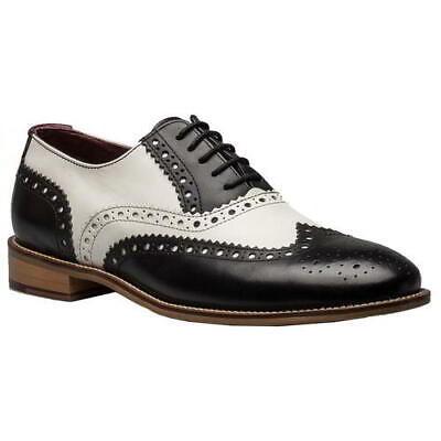 Gatsby Mens Attire (London Brogues Gatsby Mens Black White Wingtip Brogue Formal Shoes Size)