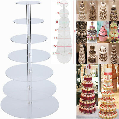 7-Tier Clear Acrylic Round Cupcake Birthday Wedding Cake Stand Display Tower - Cupcake Display Stand