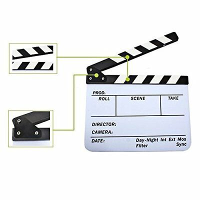 Acrylic Dry BNW Cut Action Scene Clapboard w/ 9.75inX12in Magnetic Stripe (Action Clapboard)