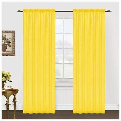 NEW! Editex Home Textiles Monique Sheer Window Panel, 55 By 63-inch, Neon Yellow Monique Panel