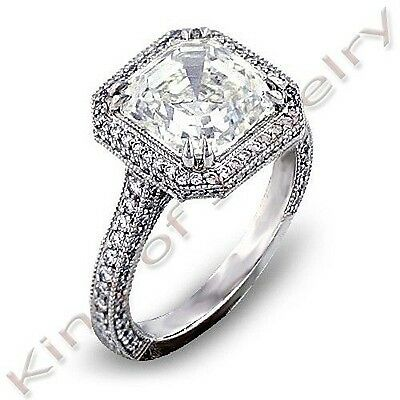 2.12 Ct Vintage Inspired Halo Asscher Cut Diamond Engagement Ring H,VVS2 GIA 18K
