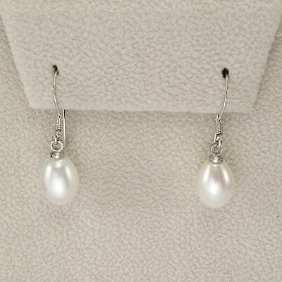 REDUCED White Drop Pearl Earrings .925 Sterling Silver 10mm X 8mm Brand New ss