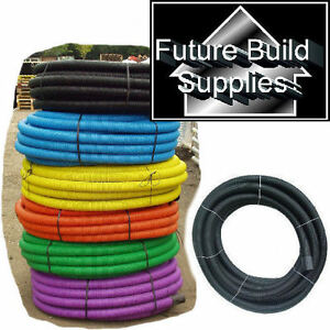 63MM X 50M RIDGICOIL BLACK ELECTRICAL FLEXIBLE CABLE DUCTING NEW